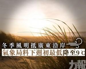 氣象局料下週初最低降至9℃