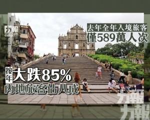 按年大跌85% 內地旅客佔八成