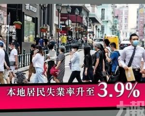 本地居民失業率升至3.9%