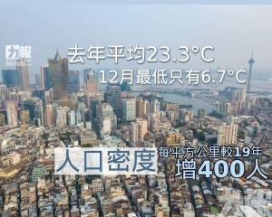 人口密度每平方公里較19年增400人
