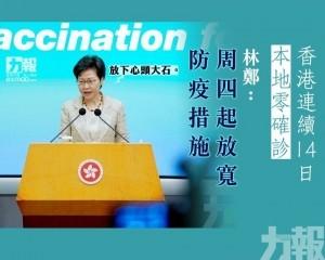 林鄭:周四起放寬防疫措施