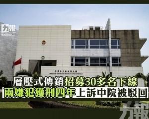 兩嫌犯獲刑四年上訴中院被駁回