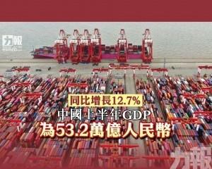 中國上半年GDP為53.2萬億人民幣