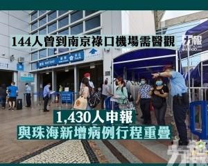 1,430人申報與珠海新增病例行程重疊