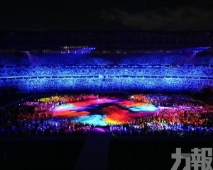 璀璨燈光表演閃耀東奧閉幕式