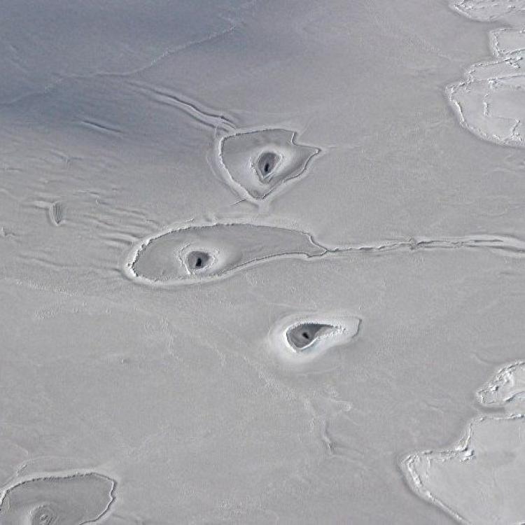 NASA攝北極冰層現怪異黑洞